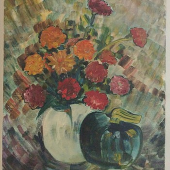 Unsigned canvas floral painting with vase and apple.?? - Visual Art