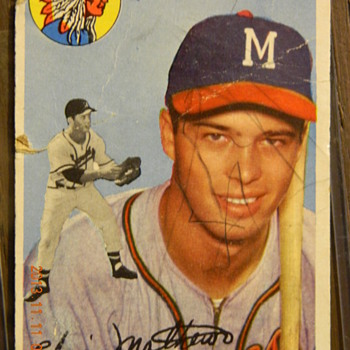 edwin lee mathews jr. topps baseball card with a cartoon story of an event that happened to him during a game.