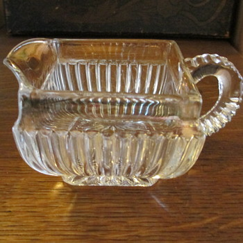U.S. Glass Company pattern #15061 'New York' c1899 Creamer with Gold Flashing