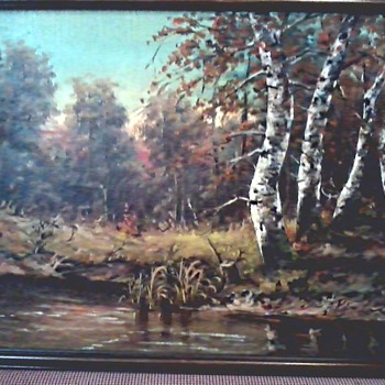 "Autumn Landscape with Birch Trees 30""x22"" Framed / Oil on Canvas Signed / Unknown Age - Fine Art"