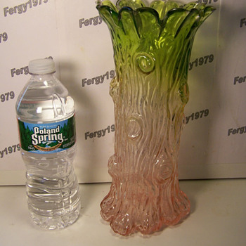 Large Blown Molded Tree Trunk Vase with Ground Pontil