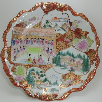 Japanese Porcelain - Hand Painted Large Dish - China and Dinnerware