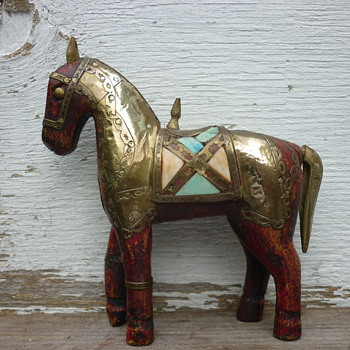wooden horse copper plated - Animals