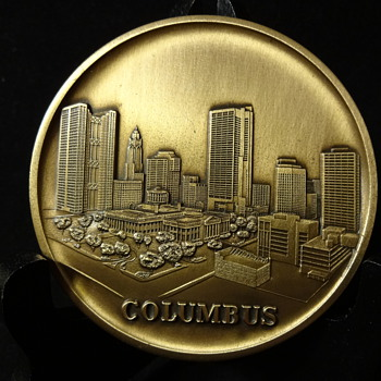 Bronze Medallion Featuring Columbus OH Skyline - Medals Pins and Badges