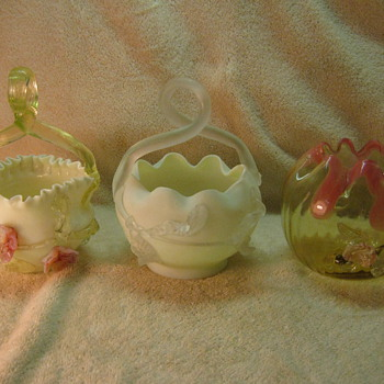 Victorian Applied Flowers Baskets and Rose Bowl - Art Glass
