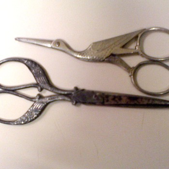 2 Antique Stork Sewing Scissors from Tell Germany 1930's