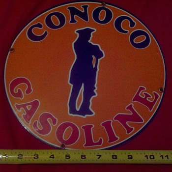 Orange Conoco Gasoline metal sign