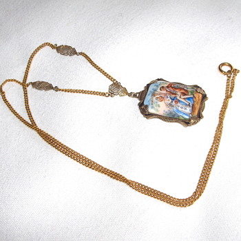 Old American Sterling Porcelain Pendant, and Chain? Marked H - Fine Jewelry