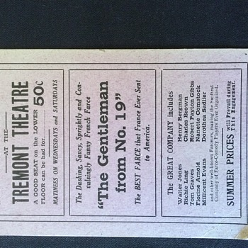 STAGE PLAY THEATER TICKET  RARE 1913  TREMONT THEATRE NEW YORK
