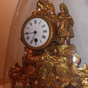 French Gold Leaf Figural Gilt clock - Clocks