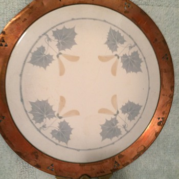 serving plate stoneware base with sugar maple leaves and seed pods