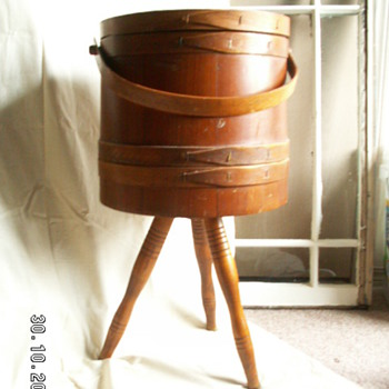 HUGE Firkin (converted into Sewing Cabinet) filled w/ sewing antiquities.