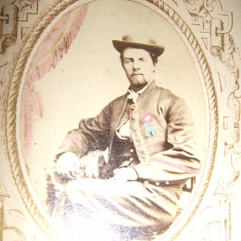 Hand tinted CDV of Civil War soldier  - Photographs