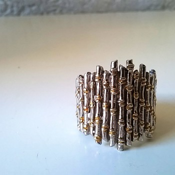 Big Sterling Silver/Gold Vermeil Bamboo Design Ring Flea Market Find 50 Cents