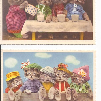 Fancy Kittens Drinking Tea Makes Me Happy - Postcards