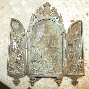 Joan of Arc religious triptych found at an Estate sale. - Sterling Silver