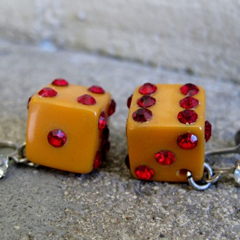 bakelite and rhinestone earrings - Costume Jewelry