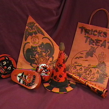 Vintage Halloween Noisemakers, Party Hat and Bag - Advertising