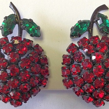 Austrian Japanned Earrings, Ruby Red Berry, Emerald Green Leaves - Costume Jewelry