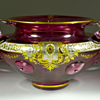 Josephinenhtte enameled glass bowl with applied handles and prunts, ca. 1900