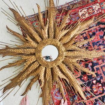 5 Foot Wide Mid Century Sunburst Mirror - Friedle? - Mid-Century Modern
