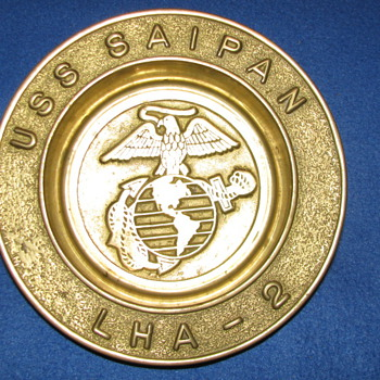 USS Saipan-LHA-2 Brass Ashtray/Dish  - Military and Wartime