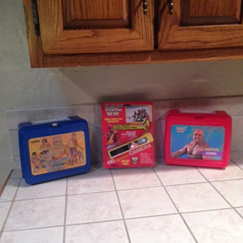 Vintage WWF Lunchboxes and Hulk Hogan Camera