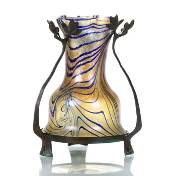 Art Nouveau Glass Vase in Bronze Leaf Form  - Art Glass