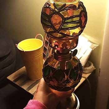 antique stained glass kerosene lamp