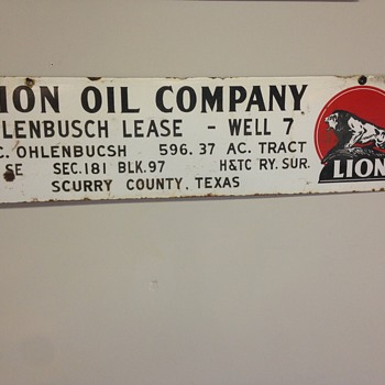 """Lion Oil Company"" porcelain oil field sign 42"" x 18"""