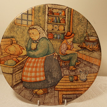 Decorative Italian Peasant Couple Picture Plate  - Pottery