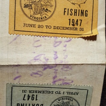 1947 Roanoke VA Carvins Cove Fishing License/Stamps