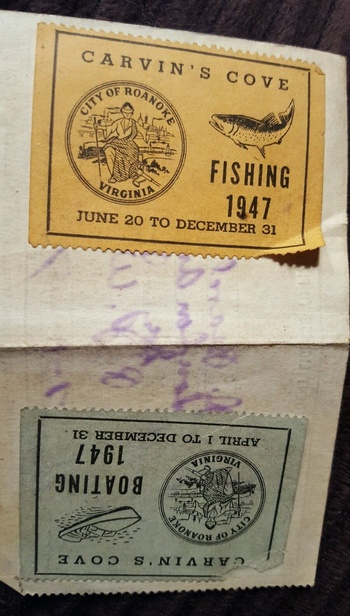 1947 roanoke va carvins cove fishing license stamps for Carvins cove fishing