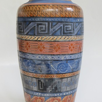 Mexican Vase with Aztec Designs~Tonala? Unknown Mark - Art Pottery