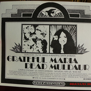 1974 Grateful Dead & Maria Muldaur concert handbill from UC Santa Barbara Campus Stadium - Music
