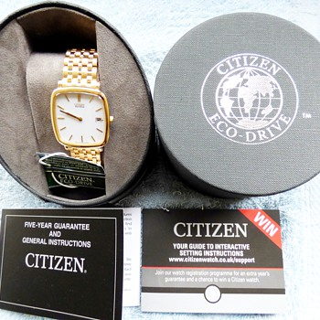 2014-citizen gold plated mens eco-drive solar powered watch. - Wristwatches