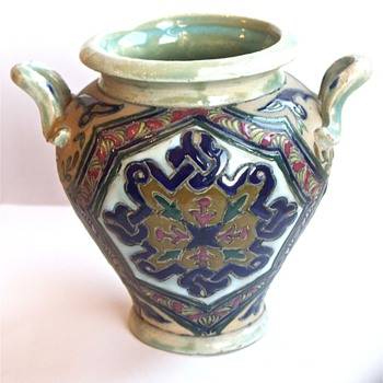 Enamel Painted Vase - Amphora? - Art Pottery