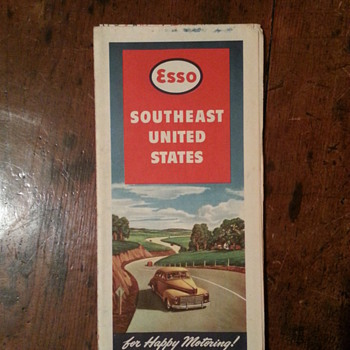 Esso Southeast United States Road Map - Petroliana