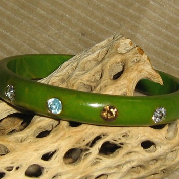 Repaired bakelite bangle w/rhinestones - Costume Jewelry