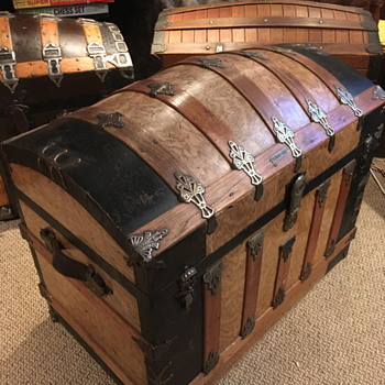 1880's lithographed brass plated antique saratoga trunk - Furniture