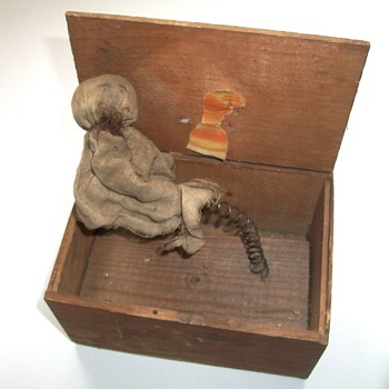 Antique Jack in the Box Made by Hand Folk Art Sculpture - Folk Art