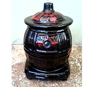 "Royal Canadian Art Pottery.....eh or Is it Really a McCoy /""Pot Belly Stove"" Cookie Jar/Circa 1960's-70's"