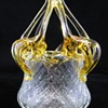 Czech Art deco Clear Glass Basket / Posey Vase with Applied Amber Flower Frog Kralik ca 1920's 30's