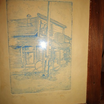 """Rustic Inn""  Jack London's favorite Saloon! Glen Ellen Ca. Etching made 1977 burned down about 1975 or so. - Posters and Prints"