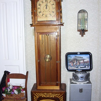 TRAMP ART GRAND FATHERS CLOCK - Folk Art