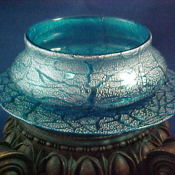Victorian Vasa Murrhina Blue & Platinum Art Glass Bowl/Plate Set ~ Designed by D'Humy - Art Glass