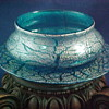 Victorian Vasa Murrhina Blue & Platinum Art Glass Bowl/Plate Set ~ Designed by D'Humy