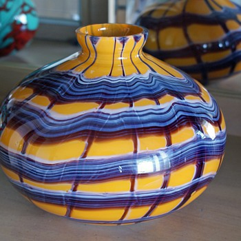 Kralik Webbed Ball Vase - Art Glass