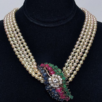 Cultured Fresh Water Pearl Necklace with 1.26cts Diamonds & Carved Rubies, Sapphires & Emeralds in 18k