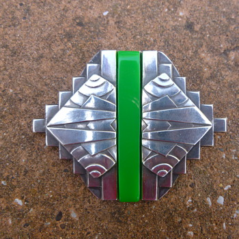 1930s French Modernist Chromed Green Bakelite Pin - Art Deco